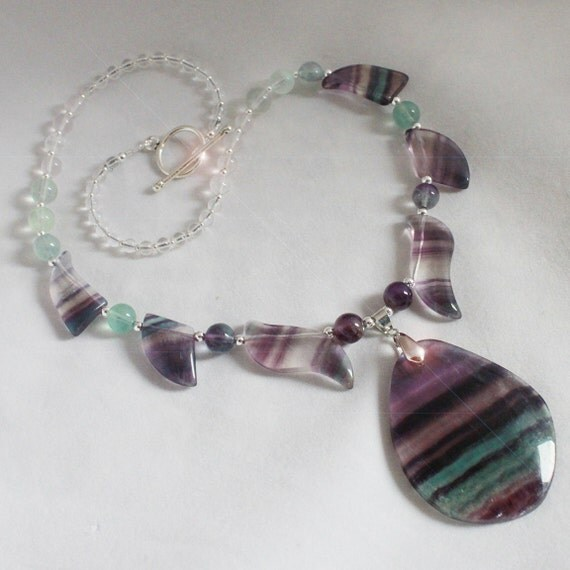 Rainbow Dreams - Rainbow Fluorite and Sterling Silver Necklace