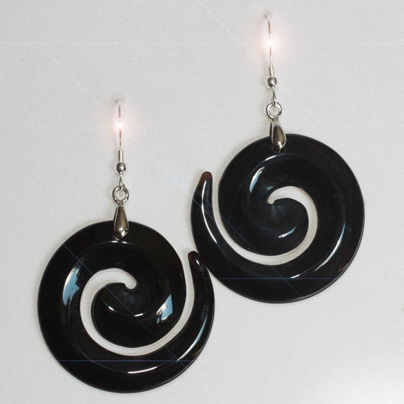 Midnight Magic - Beautiful Black Onyx Hand Carved Drop Sterling Silver Earrings