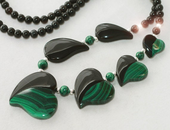 Midnight Garden - Malachite and Black Onyx Intarsia Sterling Silver Necklace