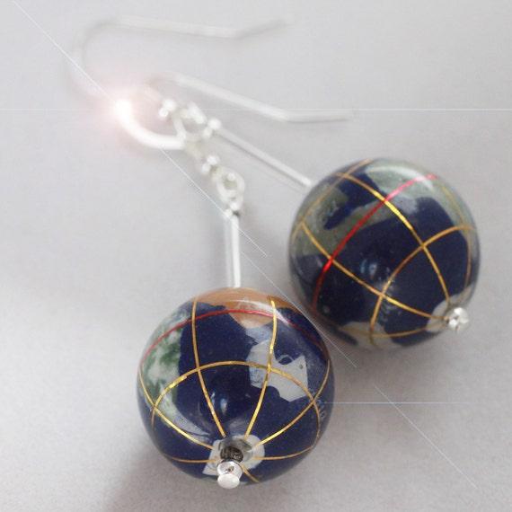 Mother Earth - Gorgeous Handmade Gemstone Intarsia Globe Sterling Silver Earrings