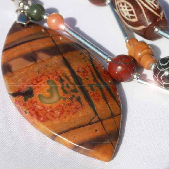 African Safari- Hand Carved Jasper Long Sterling Silver Necklace