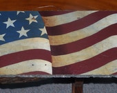 American Flag Slate, Americana, hand painted, slate, Red White and Blue, primitive, folkart