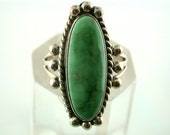 Vintage Signed Genuine Green Turquoise Sterling Silver Ring
