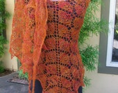 Burnt Orange Leaves LIghtweight Hand Knitted Alpaca Lace Shawl