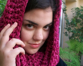 Thick Crocheted Rasberry Sherbet Cowl or Hoodie