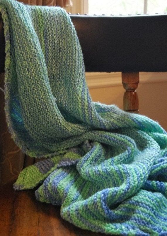 Blue and Green Striped Knit Baby Blanket
