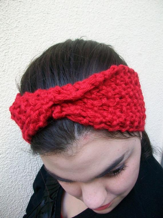 Clearance Red Chunky Twist Earwarmers/Headband