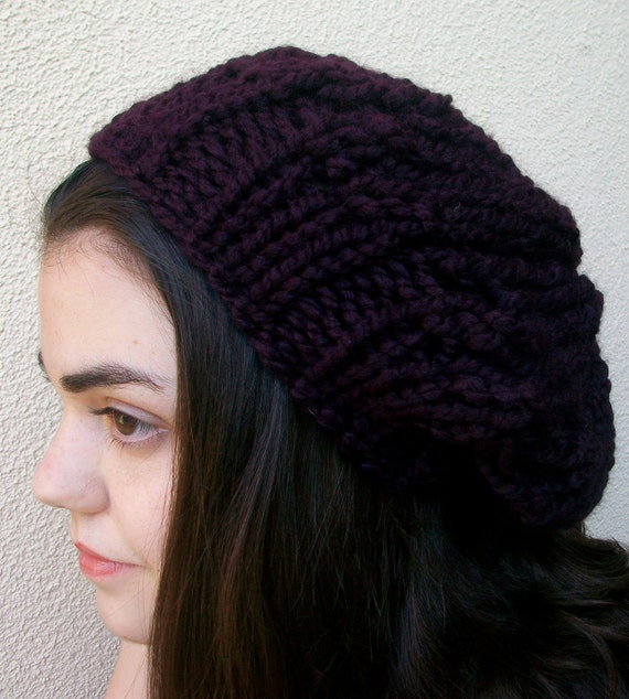 Deep Plum Super Chunky Knitted Slouchy Hat