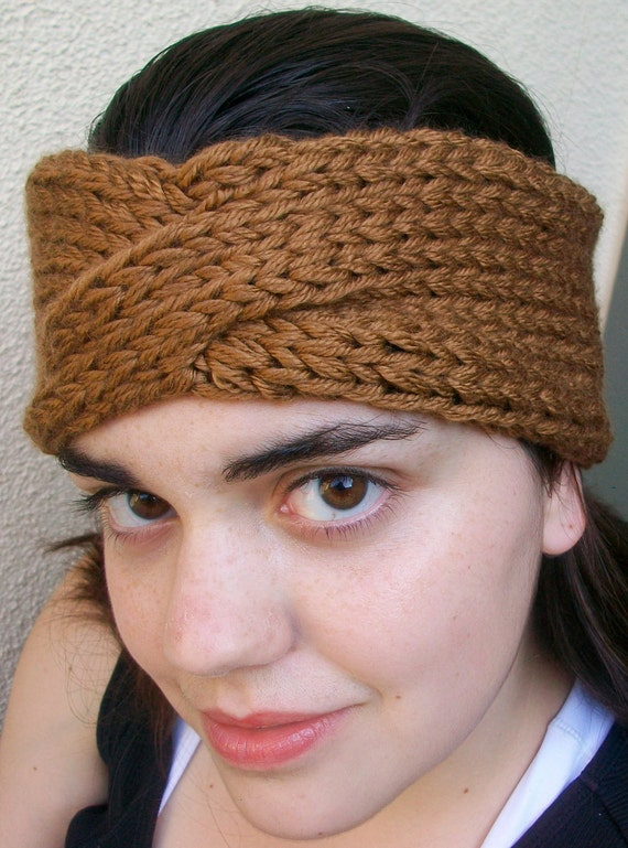 Knitted Latte Super Chunky Turban Headband Earwarmers