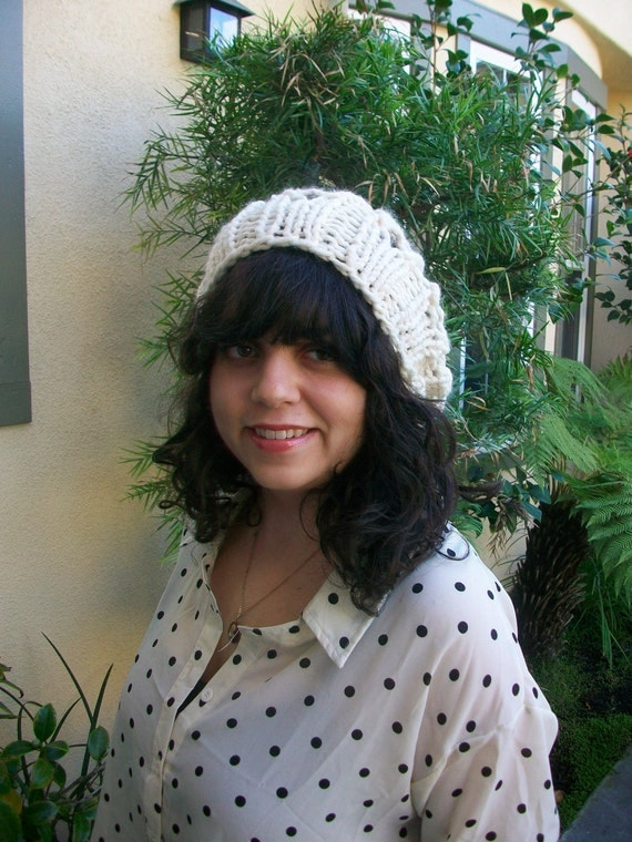 Cream Colored Super Chunky Knitted Slouchy Hat