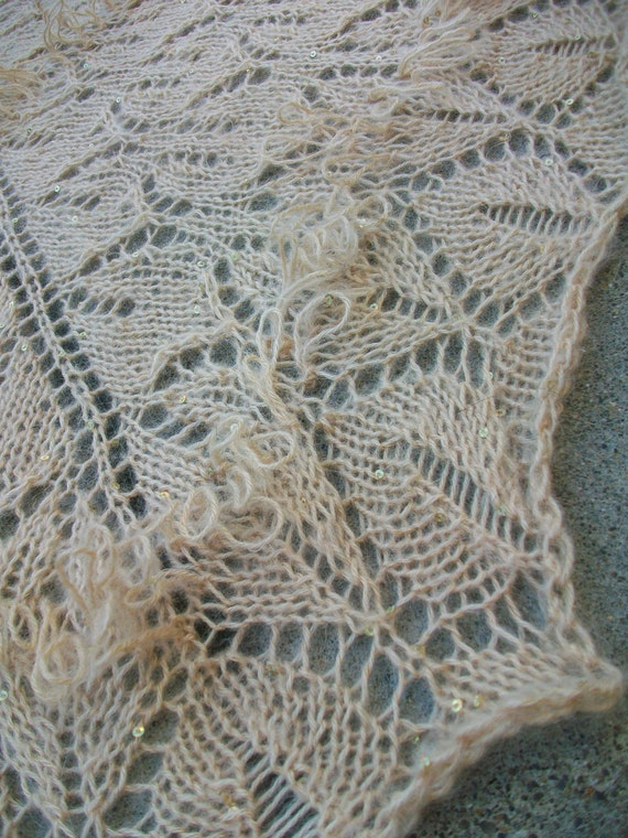 Champagne Hand Knitted Mohair Blend Shawl