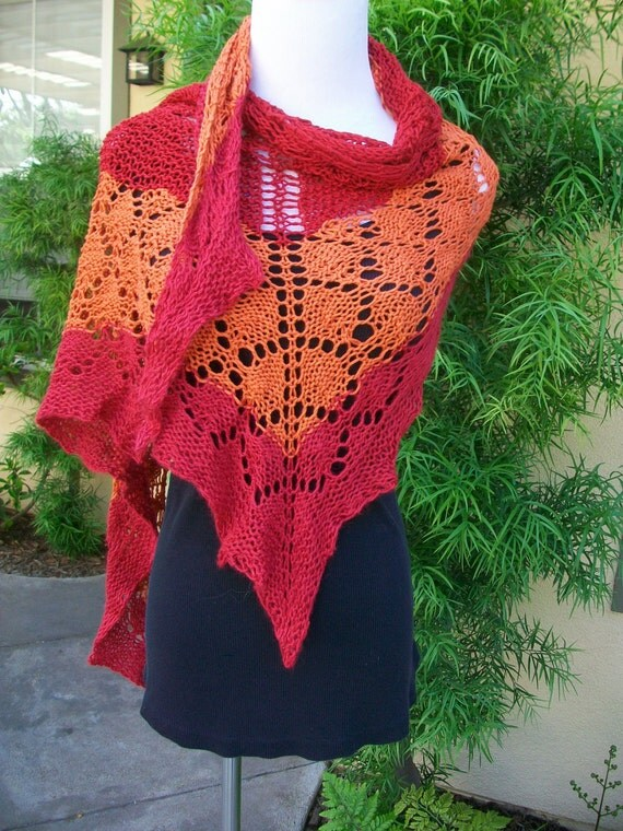 The Sangria Knitted Pima Cotton Lace Shawlette