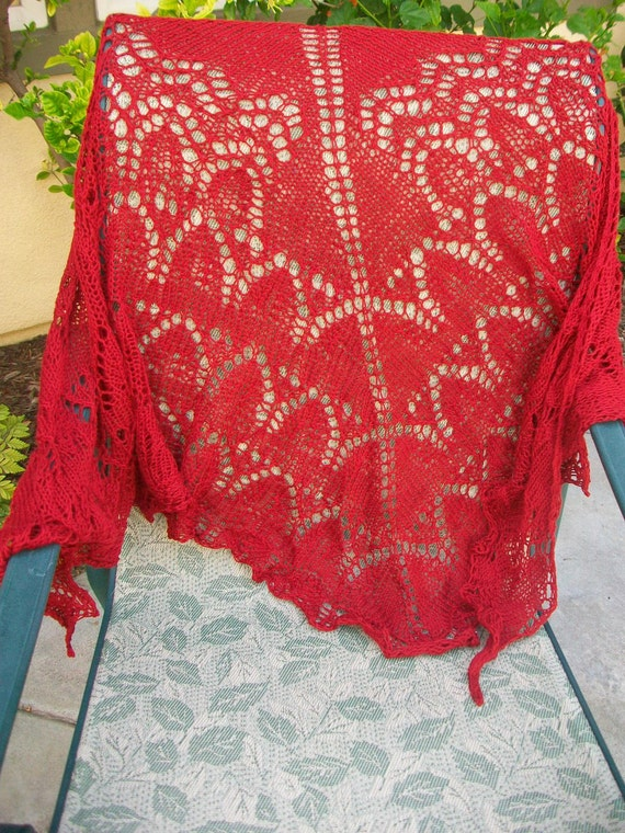 Clearance Sale Cardinal Red Colored Hand Knitted Pima Cotton Lace Shawl