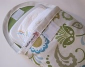 Diaper and wipe case-clutch-pouch--Green and Blue mod floral print---Many more to choose from