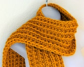 Butterscotch Yellow Long & Chunky Hand Knitted Scarf