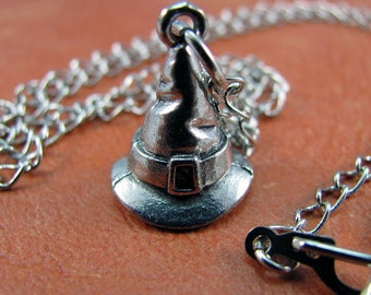 Silver Witch Hat Necklace - Harry Potter Necklace, Sorting Hat Necklace, Witch Necklace, Wizard Necklace for Costume & Cosplay.