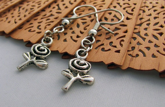 Spiral Rose Earrings in Silver - Flower Jewelry, Summer Jewellery, Nature, Flowers, Mother's Day, Abstract, Whimsical, Garden, SALE 25% off