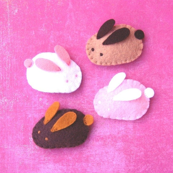 Handmade Felt Magnets - Baby Bunnies