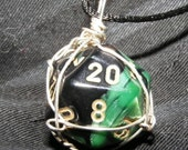 Sterling-wrapped D20 pendant