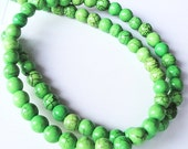 Lime  Green Turquoise  Round Beads  16 Inch Strand