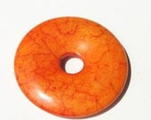 Fiery Orange Natural Jasper Donut 40mmx40mm// Tangerine Tango Donut