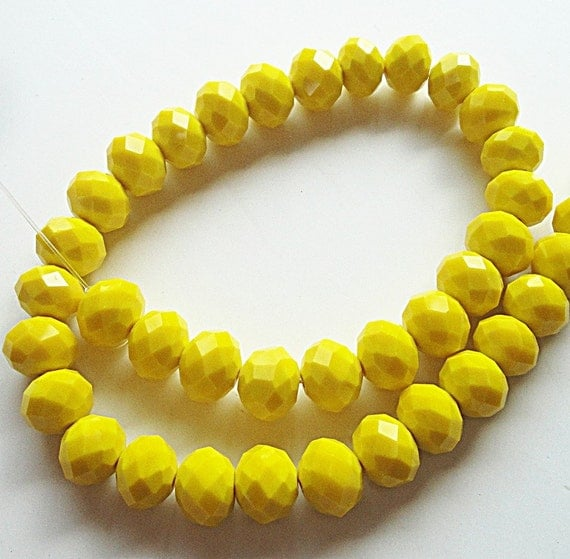 Yellow Faceted Rondelle Crystal Beads (8) Pieces