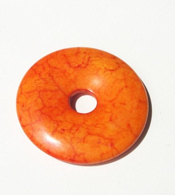 Fiery Orange Natural Jasper Donut 40mmx40mm// Tangerine Tango Donut