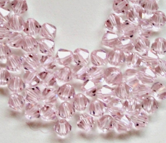 Light Pink  Crystal Bicone Beads (40) Pieces 3mm