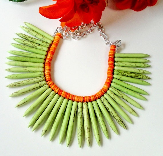 Bohemian- Maui- Neon Green Sticks With Orange Turquoise Beaded Necklace Set/ 2 Layers Green Spike Turquoise Necklace Set /Statement Jewelry