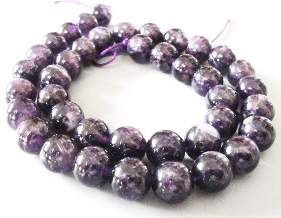 Amethyst Natural Round  Dark Amethyst Beads (8) Pcs 10mm / Medium To Dark Amethyst/ NOt A Necklace