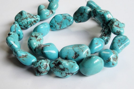 Large Chunky Blue Turquoise Nuggets Beads/ 16 Inch strand CIJ
