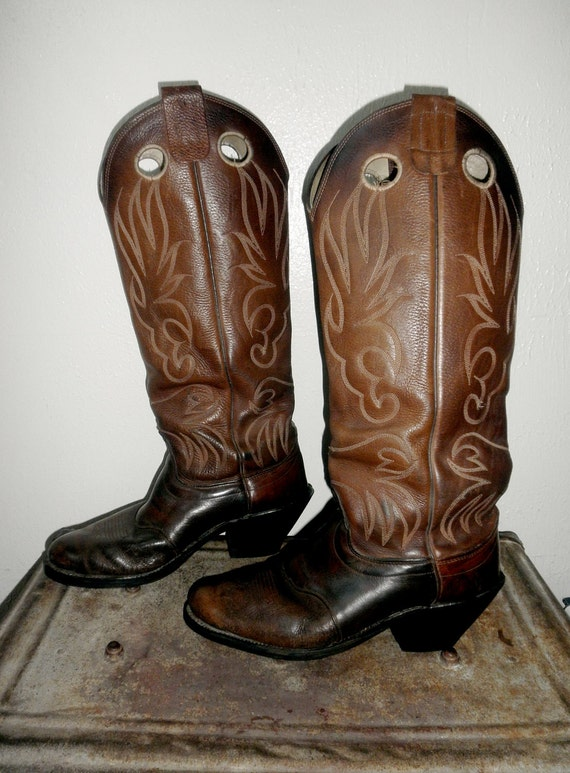 Genuine Leather Olathe Cowboy Boots with Pull Tabs and Long Upper - 11D