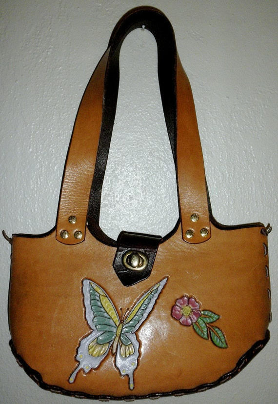 Hand Tooled Leather Bucket Bag with Butterfly and Flower Motif