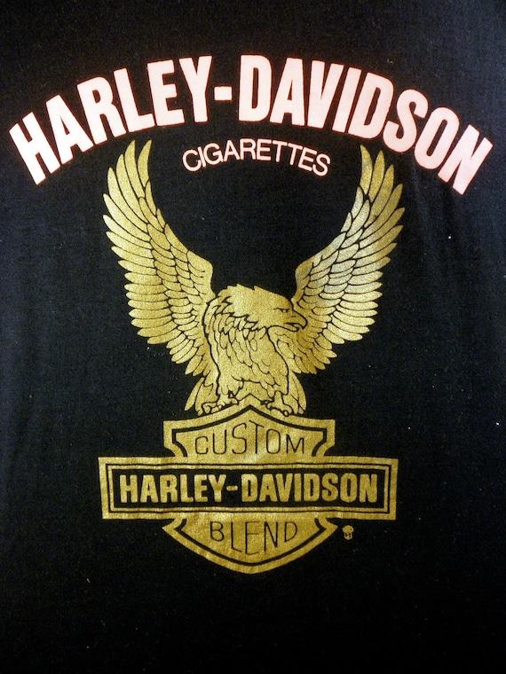 Vintage 1980's Harley Davidson Cigarettes - Men's Black T-shirt - EXTREMELY RARE - Screen Stars