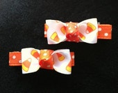 Candy Corn Hair Clips, Halloween Hair Bows, Candy Corn Hair Clip Set, Orange, Yellow, and White Hair Bows, Autumn Hair Clip, Candy Hair Clip