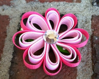 Pink Flower Hair Clip, Pink Flower Ribbon Sculpture Hair Clip, Girls Hair Bows, Toddler Hair Bows, Pink Hair Bow, Free Shipping Promo