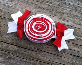 Peppermint Hair Clip, Red and White Candy Hair Clip, Christmas Hair Clip, Peppermint Ribbon Hair Clip, Holiday Hair Bow, Toddler Hair Clip