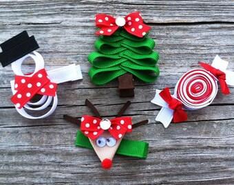 Christmas Hair Clip Set, Holiday Hair Clip Set, Christmas Tree Hair Clip, Girls Holiday Hair Clips, Christmas Hair Bows, Reindeer Hair Clip