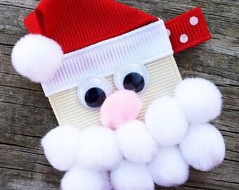Santa Hair Clip, Christmas Hair Clip, Holiday Hair Bow, Santa Claus Hair Clip, Red and White Santa Hair Clip, Toddler Hair Clip