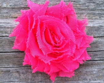 Hot Pink Shabby Flower Hair Clip, Bright Pink Hair Clip, Shabby Chic Hair Accessories, Toddler Hair Clip, Hot Pink Frayed Flower Hair Clip
