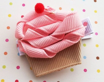 Pink Cupcake Hair Clip, Cupcake Ribbon Sculpture Hair Clip, Sweet Shoppe Party, Pink Cupcake with Red Cherry Hair Clip, FREE SHIPPING PROMO