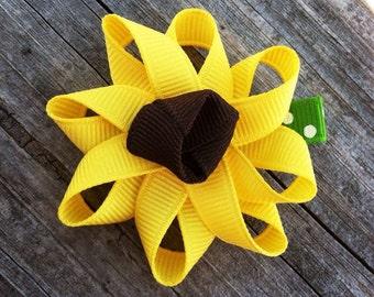 Sunflower Hair Clip, Yellow Flower Hair Clip, Toddler Hair Clip, Brown and Yellow Flower Hair Clip, Little Girls Hair Bows, Spring Hair Clip