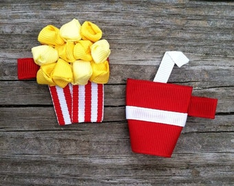 Popcorn and Soda Pop Hair Clip Set, Movie Theater Hair Clip Set, Popcorn Hair Clip, Soda Hair Clip, Toddler Hair Clip,Girls Hair Accessories