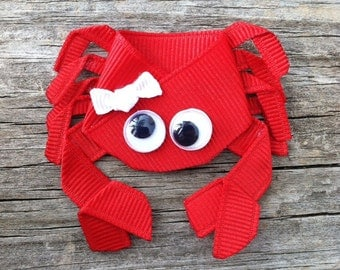 Crab Hair Clip, Crab Ribbon Hair Clip, Ocean Animal Hair Clip, Toddler Hair Bow, Girls Hair Accessory, Free Shipping Promo