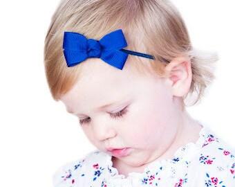 Navy Bow Elastic Headband, Baby Headband, Navy Baby Bow Headband, Navy Blue Headband, Toddler Headband, Infant Headband, FREE SHIP PROMO