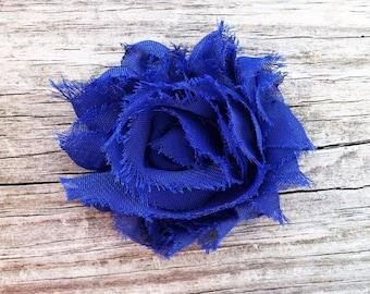Royal Blue Flower Hair Clip, Blue Shabby Flower Hair Clip, Shabby Chic Hair Accessories, Royal Blue Hair Bow, Frayed Flower Hair Clip