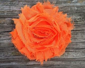 Orange Shabby Chic Chiffon Flower Hair Clip, Bright Orange Flower Hair Clip, Frayed Fabric Hair Clip, Girls Hair Flower Clip, Free Shipping