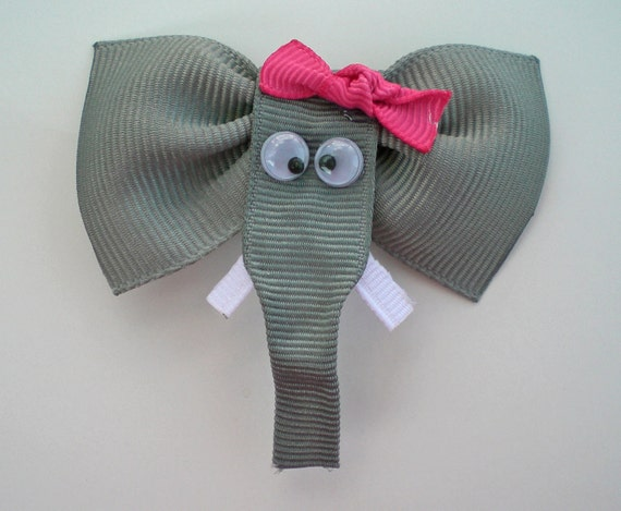 Elephant Hair Clip, Zoo Animal Hair Clip, Elephant Ribbon Hair Bow, Animal Hair Clip, Toddler Hair Clip, Grey and Pink Elephant Hair Clip