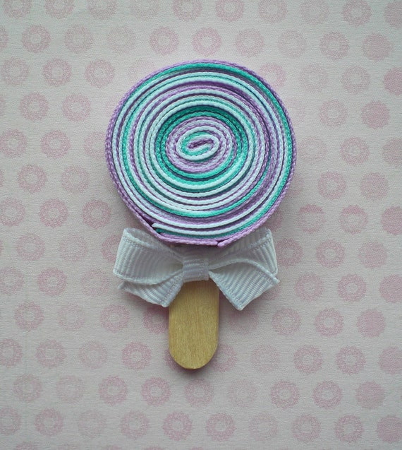 Lavender and Aqua Lollipop Hair Clip, Candy Hair Clip, Lollipop Ribbon Hair Clip, Girls Lollipop Hair Clip, Party Favors, Free Shipping