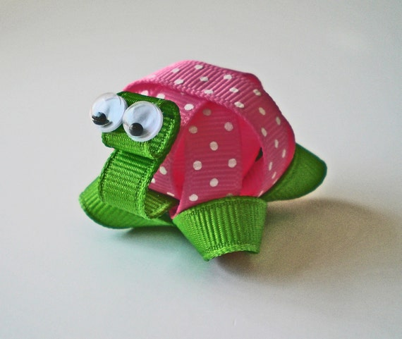 Turtle Hair Clip, Hot Pink Polka Dotted Turtle Hair Clip, Turtle Ribbon Sculpture Hair Clip, Turtle Hair Bow, FREE SHIPPING PROMO
